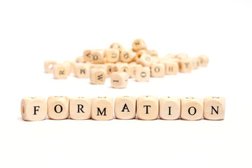 word with dice on white background- formation