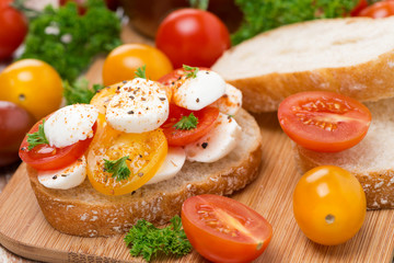 ciabatta with mozzarella and cherry tomatoes