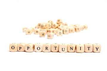 word with dice on white background- opportunity