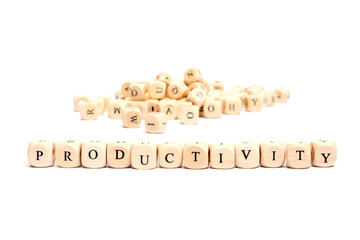 word with dice on white background- productivity
