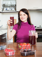 girl with  berries beverage in glass