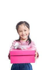 Asian little girl give a gift box