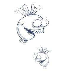 vector illustration little gnat with teeth