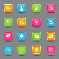 addiction icons on colorful buttons