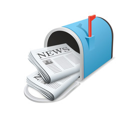 Beautiful blue metallic opened mailbox. Icon. Daily news concept