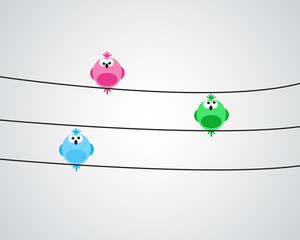 Three birds on wire