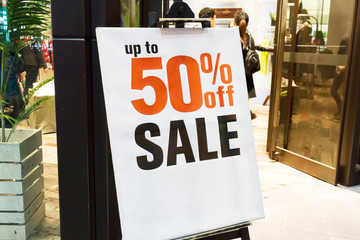 Sale signs in shop,discount