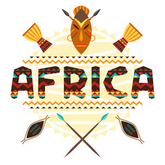 African ethnic background with geometric ornament and symbols.