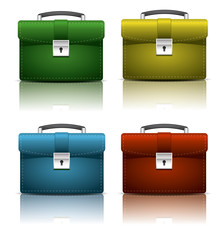 Red, yellow, blue brief cases