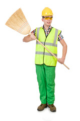 Funny janitor with broom isolated on white