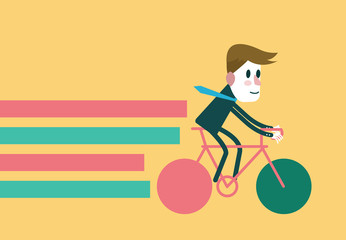 Businessman riding a bike. flat vector illustration