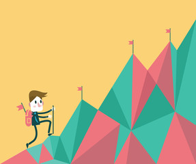 Businessman climbing hill. flat  vector illustration