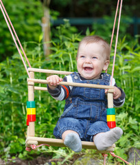 Smiling baby swinging