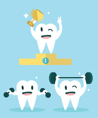 Healthy Teeth. Character set. flat design illustration. vector
