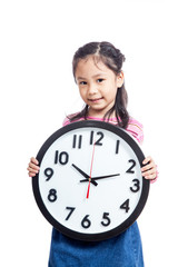 Asian little girl hold a clock