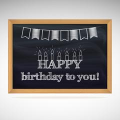 Birthday greetings on schoolboard