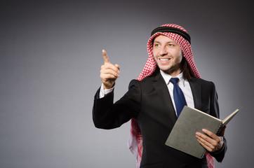 Arab man pressing virtual button