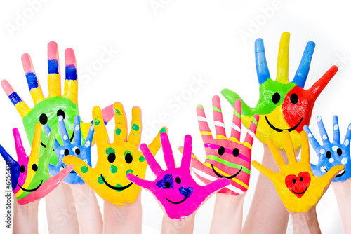 canvas print picture coloful hands