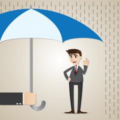 cartoon businessman under umbrella
