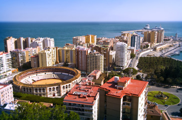 Panoramic view of Malaga city, Spain