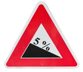 panneau danger, descente dangereuse, 5%