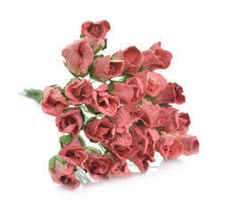 Artificial rose flowers isolated on white