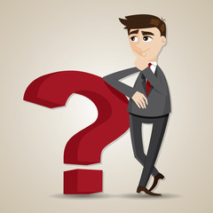 cartoon businessman thinking with question mark