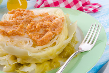 Young stewed cabbage on Irish art