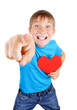 Kid holds Red Heart Shape