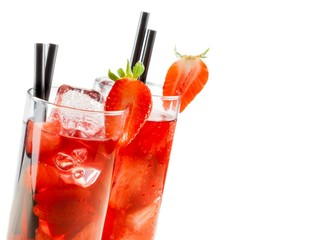 glasses of strawberry cocktail with ice isolated