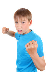 Kid threaten with a Fist