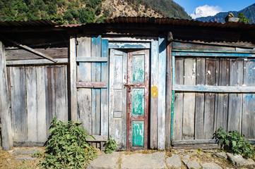 Old door of old cottage in Nepal