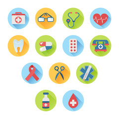 Colorful medical icon set flat style