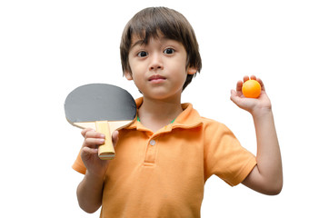 Little boy playing table tennis on white background