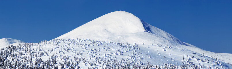 Mountain valley in the winter time. Beautiful winter landscape