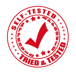 self and tired tested  stamp