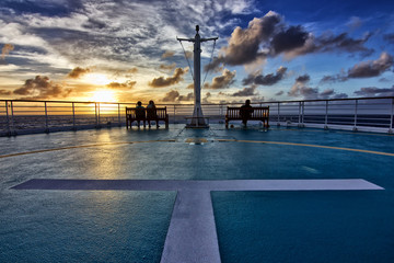 Sunset in New Caledonia on a cruise ship