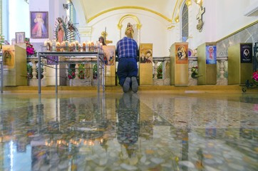 Man Praying in Catedral de Nuestra Senora de Guadalupe, Tijuana,