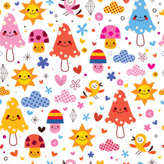 cute cartoon mushrooms seamless pattern