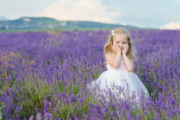 sweet girl in lavender field