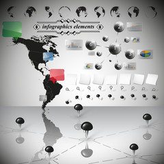 Map of South and North America, infographic vector illustration