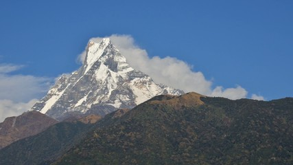 Clouds rolling down the Machhapuchhrein Nepal, timelapse video
