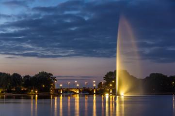 Fountain and Lombardsbrucke in Hamburg, Germany