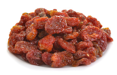 Dried tomatos on white dish