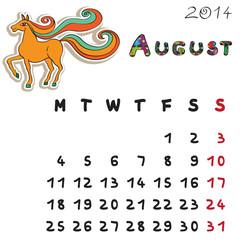 color horse calendar 2014 august