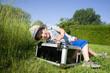 canvas print picture - kleiner Junge auf Landurlaub