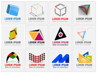 Set of twelve abstract icons for business branding