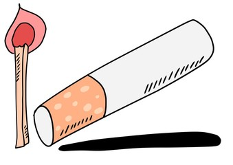 doodle cigarette and matches