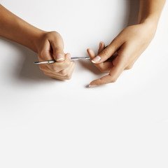 woman hand making manicure