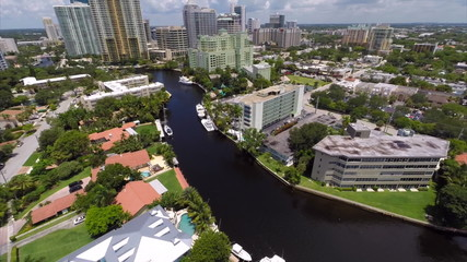 Aerial video Downtown Fort Lauderdale FL